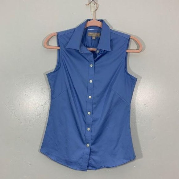 Banana Republic Blue Stretchy Cotton Blouse Size 6